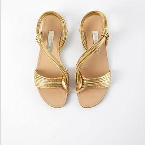 Zara Gold Flat Sandals